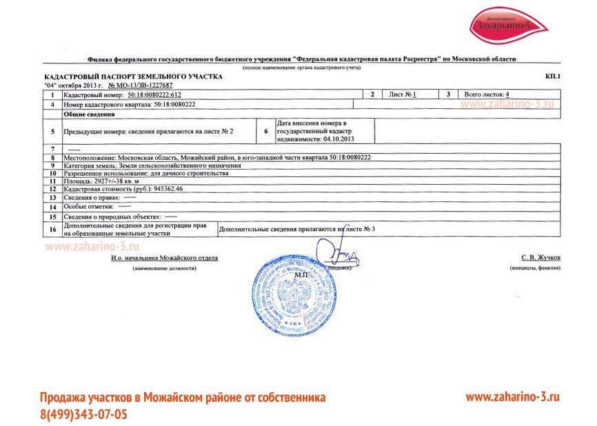 Образец кадастрового паспорта на земельный участок в поселке Захарьино 2 Можайского района